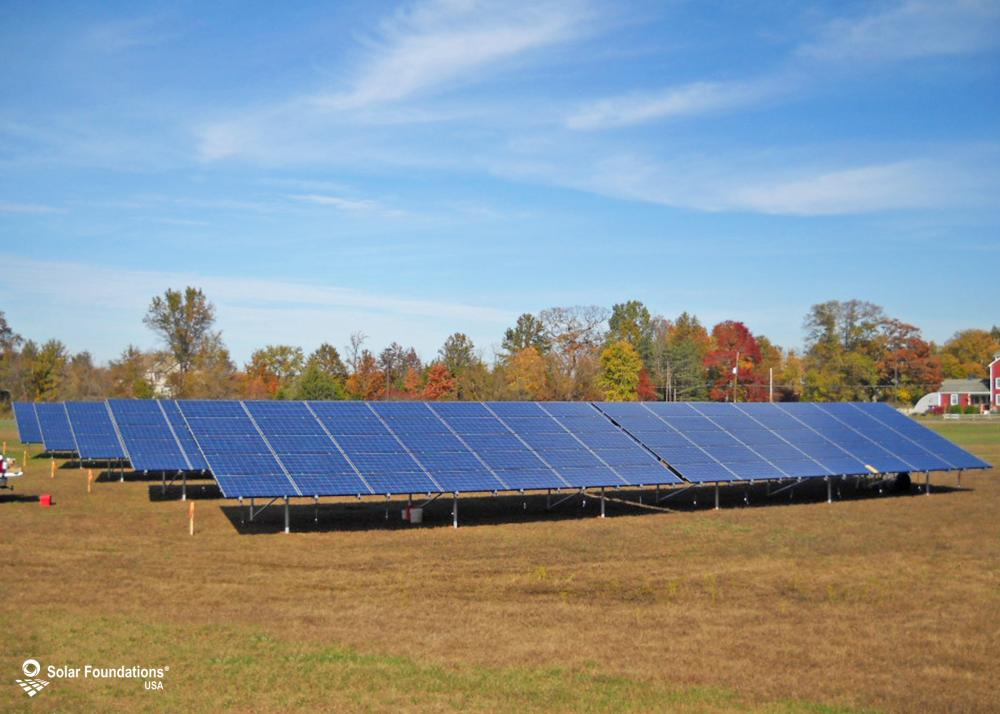 78.75 kW Ground Mount System in New Egypt, NJ. This featured system is built for (10) 5 panels high in landscape by 7 panel columns wide.