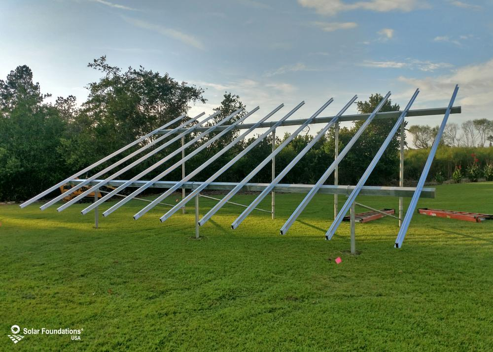 12.6 kW Ground Mount System in Denmark, SC. This featured system is built for (1) 6 panels high in landscape by 6 panel columns wide.