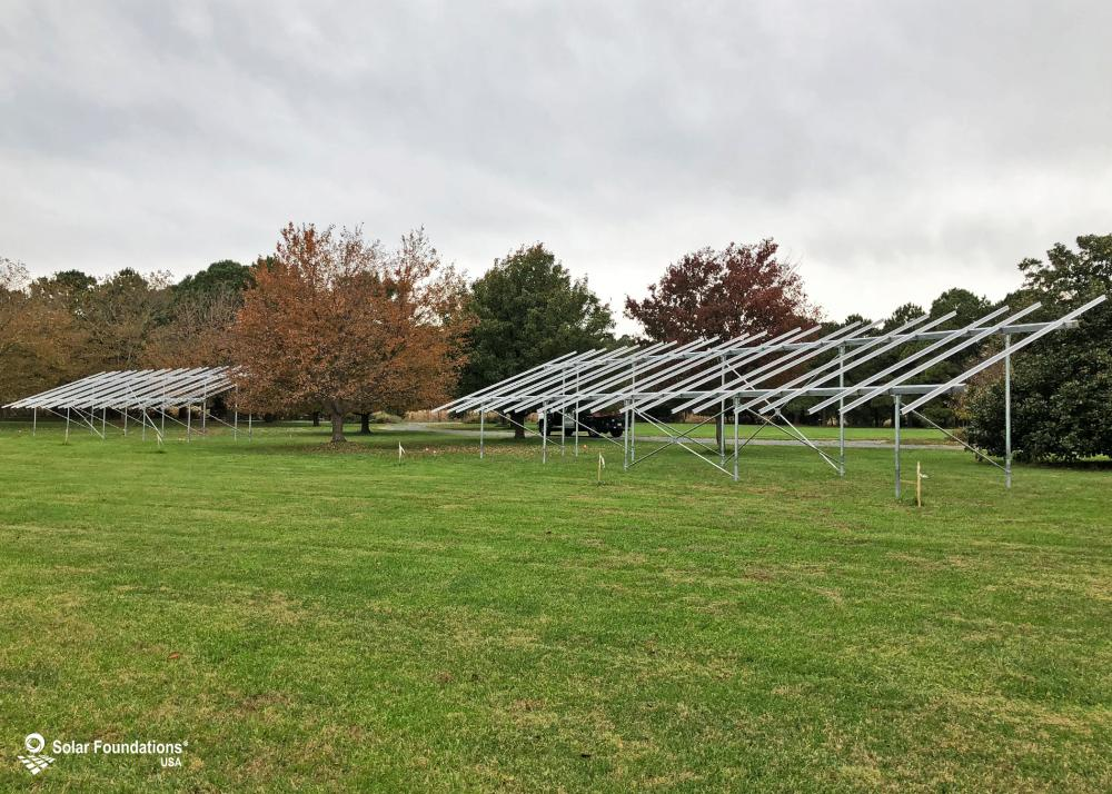 42.0 kW Ground Mount System in Royal Oak, MD. This featured system is built for (2) 6 panels high in landscape by 10 panel columns wide.