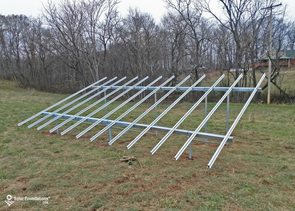 10.44 kW Ground Mount System in Taneytown, MD. This featured system is built for (1) 6 panels high in landscape by 6 panel columns wide.