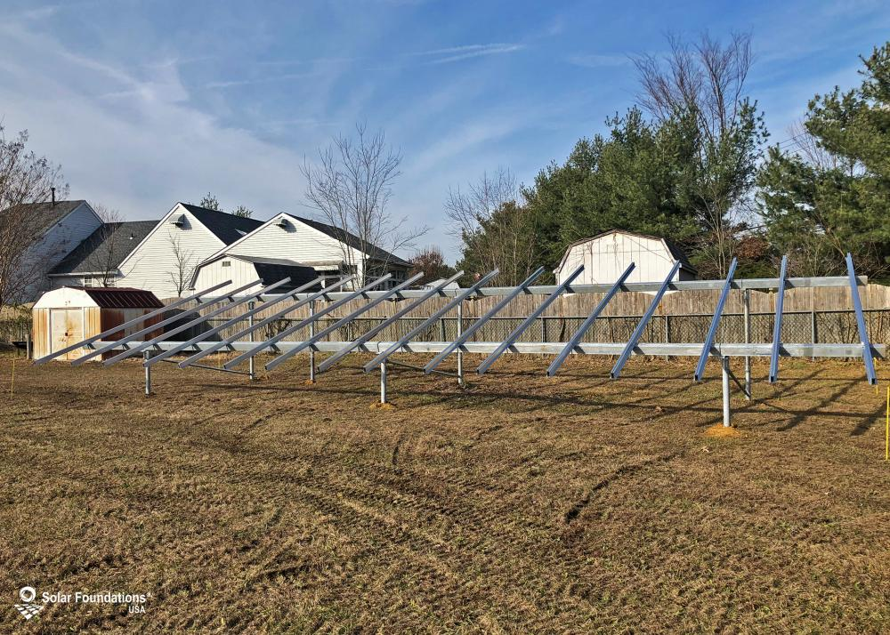 10.4 kW Ground Mount System in Sicklerville, NJ. This featured system is built for (1) 5 panels high in landscape by 8 panel columns wide.