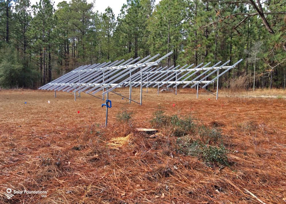 20.72 kW Ground Mount System in Aiken, SC. This featured system is built for (2) 4 panels high in landscape by 7 panel columns wide.