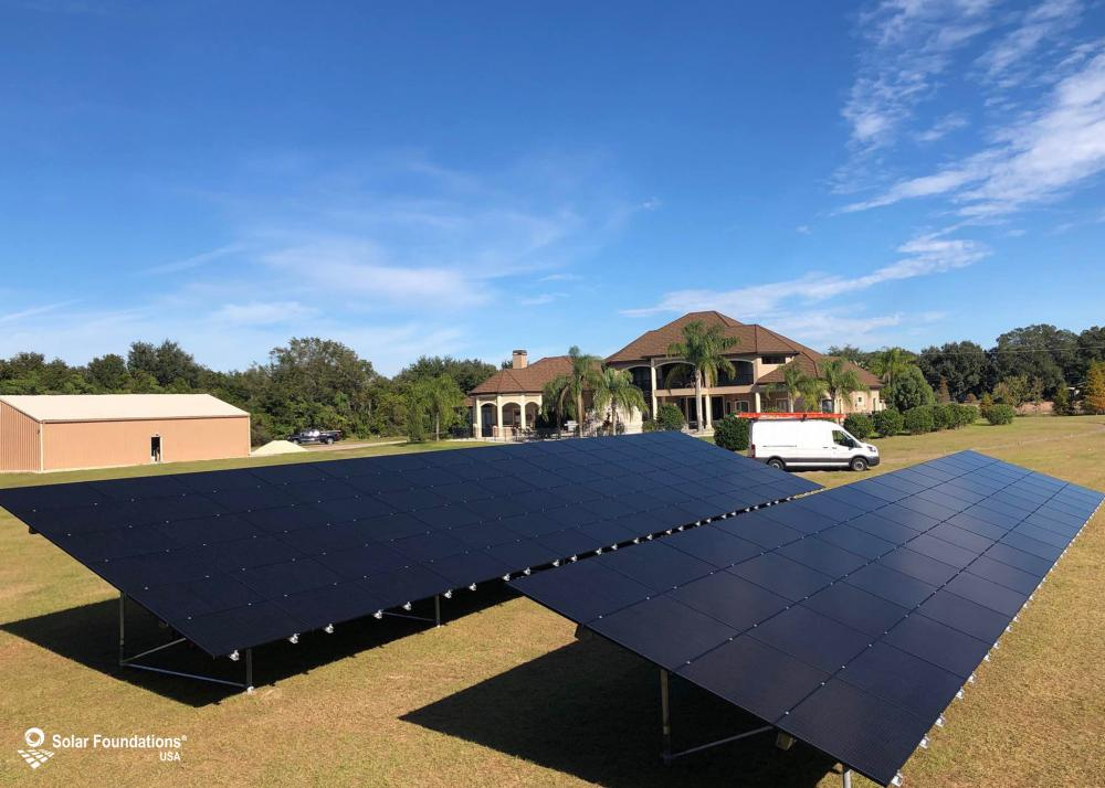 47.25 kW Ground Mount System in Odessa, FL. This featured system is built for (1) 6 panels high in landscape by 15 panel columns wide and (1) 4 panels high in landscape by 15 panel columns wide.
