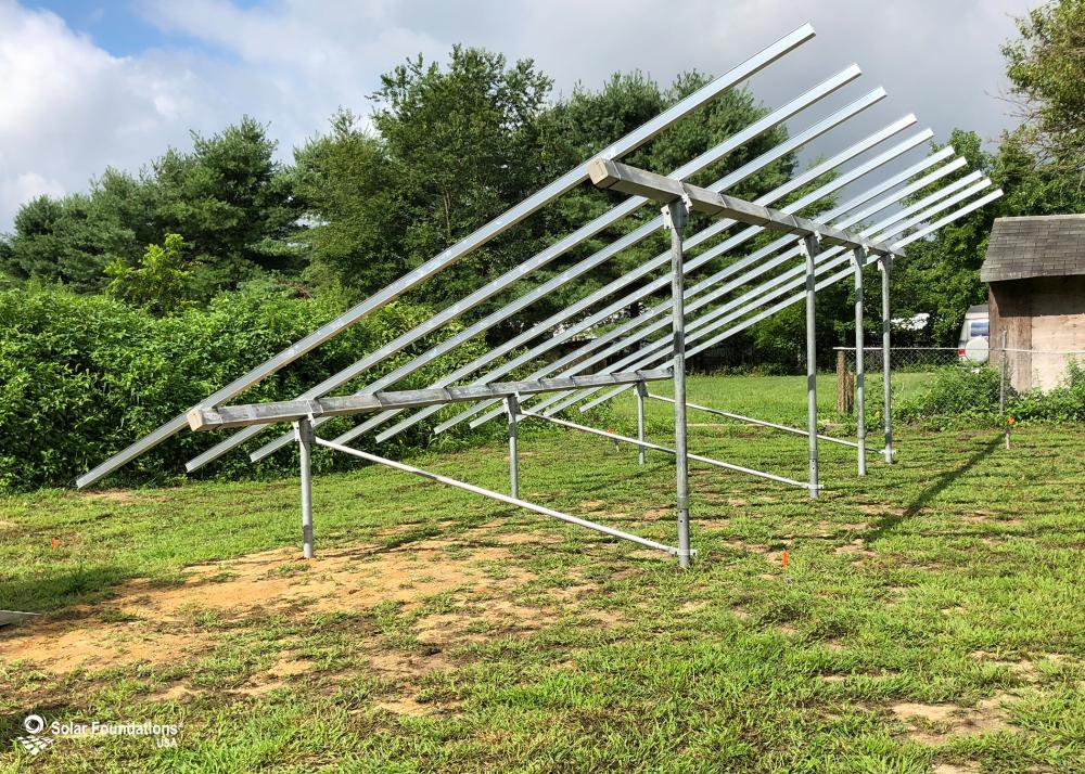 9.45 kW Ground Mount System in Millville, NJ. This featured system is built for 6 panels high in landscape by 5 panel columns wide.