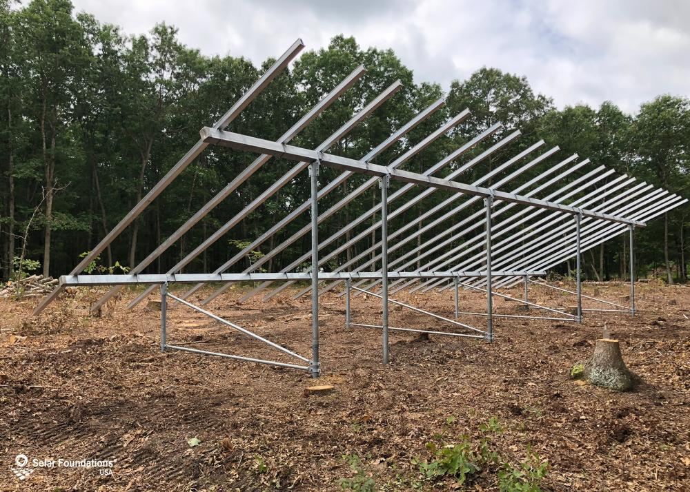23.04 kW Ground Mount System in Franklinville, NJ. This featured system is built for 6 panels high in landscape by 11 panel columns wide.