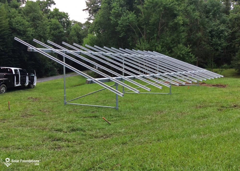 14.16 kW Ground Mount System in Summerville, SC. This featured system is built for 6 panels high in landscape by 8 panel columns wide.