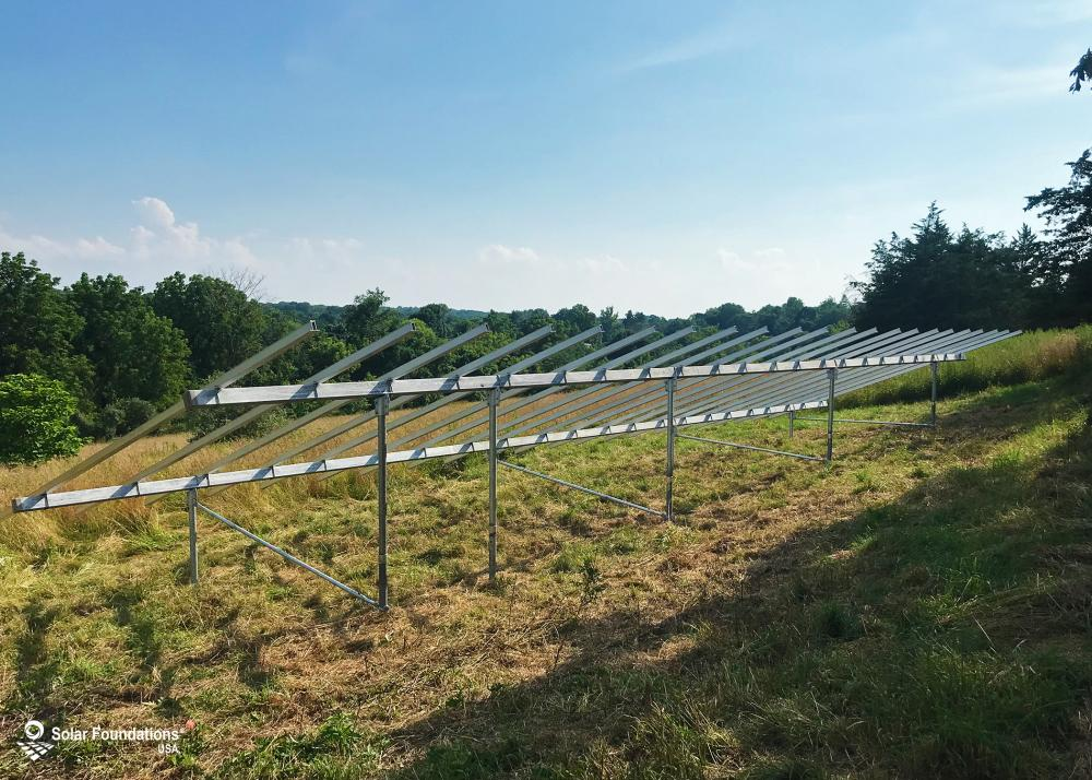 18.81 kW Ground Mount System in Hillsborough Township, NJ. This featured system is built for 6 panels high in landscape by 11 panel columns wide.