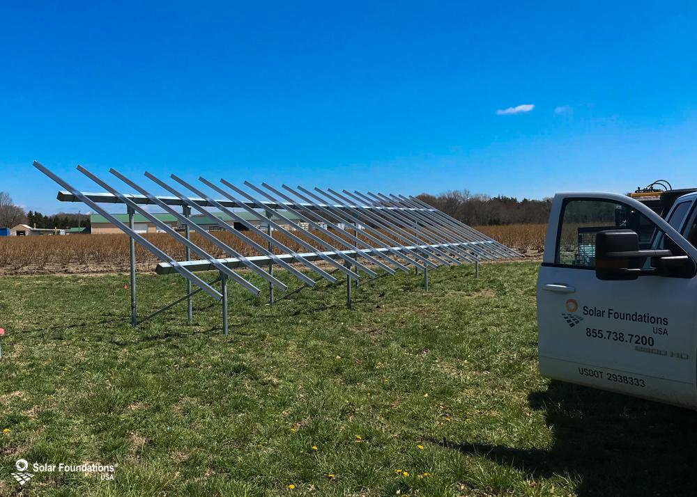 11.40 kW Ground Mount System in Hammonton, NJ. This featured system is built for 4 panels high in landscape by 10 panel columns wide.