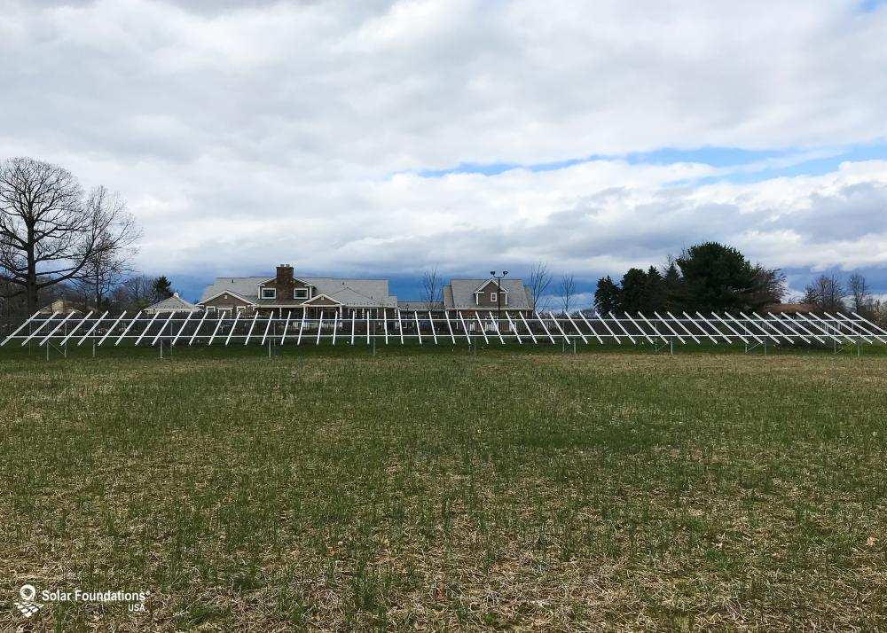 36.18 kW Ground Mount System in Trenton, NJ. This featured system is built for 4 panels high in landscape by 27 panel columns wide.