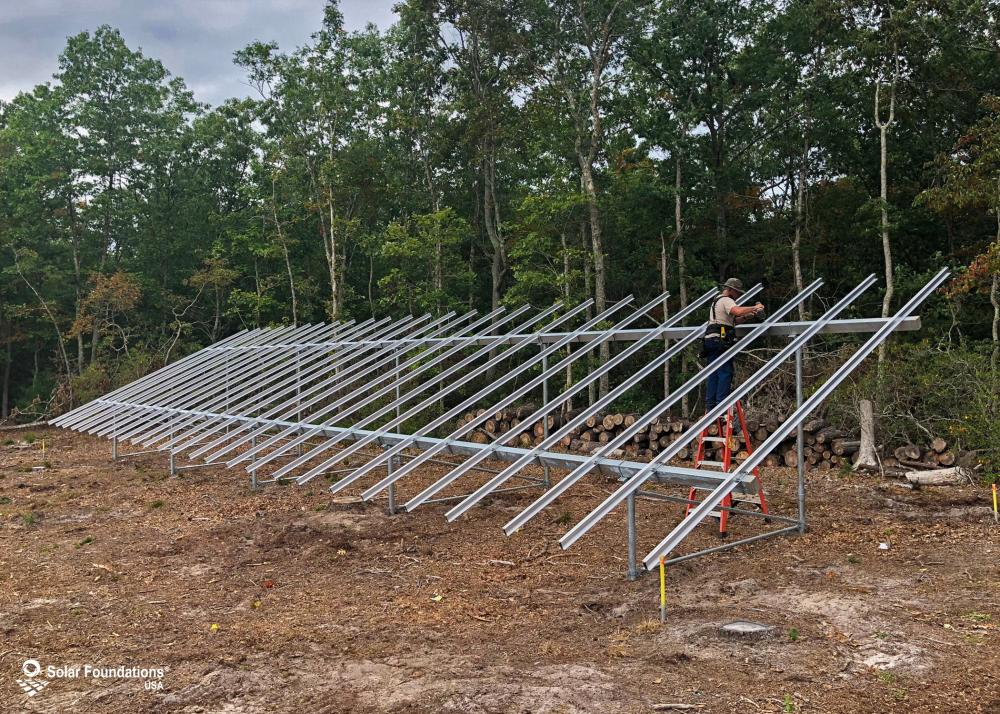 20.67 kW Ground Mount System in Tuckerton, NJ. This featured system is built for 6 panels high in landscape by 13 panel columns wide.