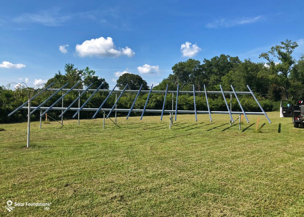 14.49 kW Ground Mount System in Bridgeton, NJ. This featured system is built for 6 panels high in landscape by 8 panel columns wide.