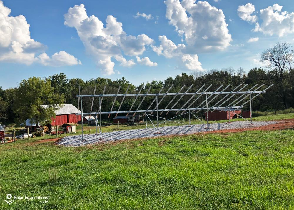 17.7 kW Ground Mount System in Walkersville, MD. This featured system is built for 6 panels high in landscape by 10 panel columns wide.