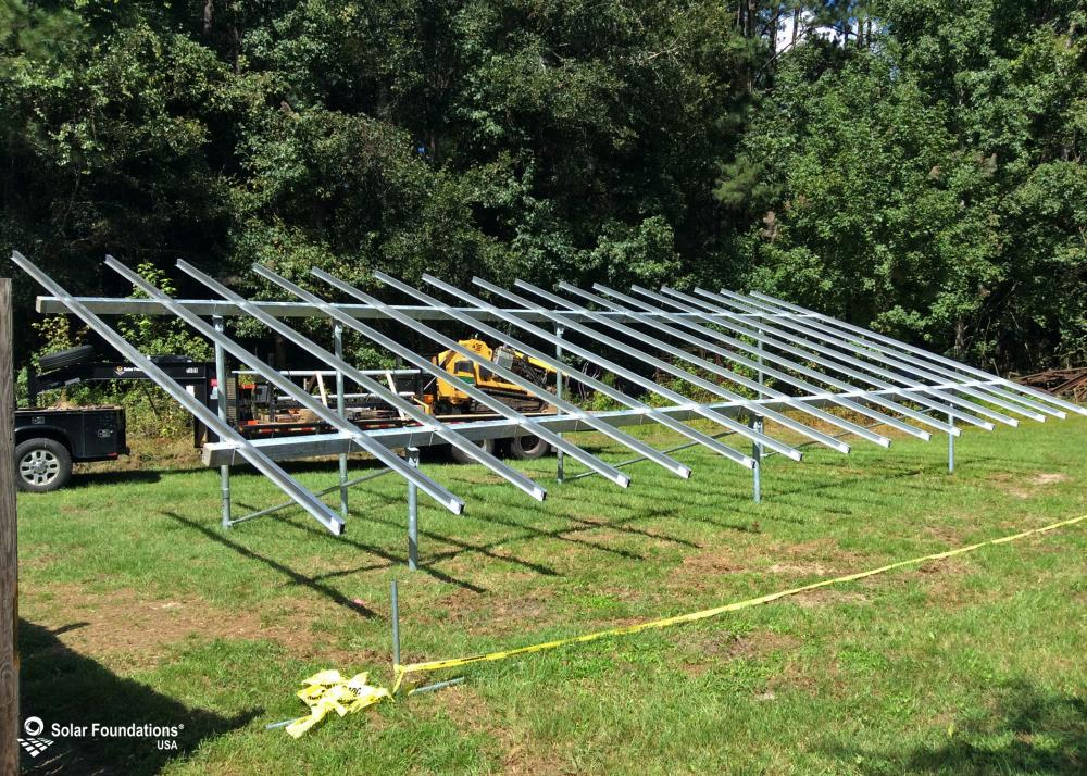14.03 kW Ground Mount System in Islandton, SC. This featured system is built for 6 panels high in landscape by 8 panel columns wide.