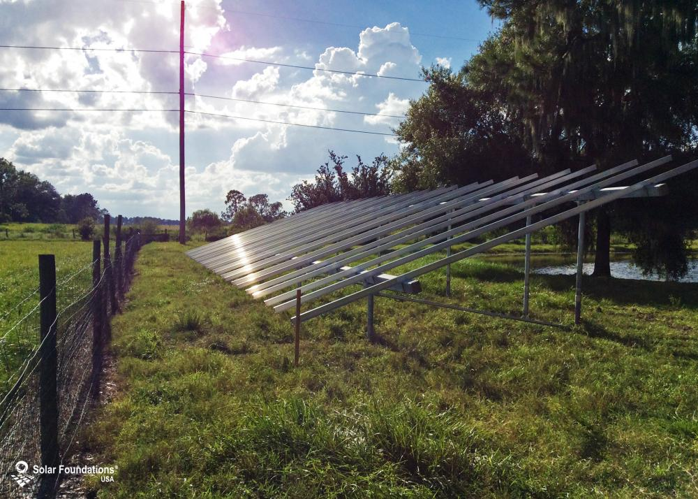 21.96 kW Ground Mount System in Winter Haven, FL. This featured system is built for 6 panels high in landscape by 12 panel columns wide.